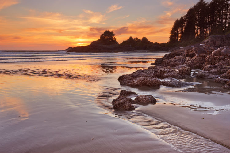 Sunset over the beach of Cox Bay Vancouver Island Canada
