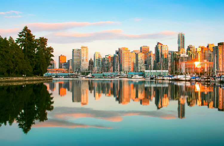 Vancouver skyline with Stanley Park at sunset BC Canada