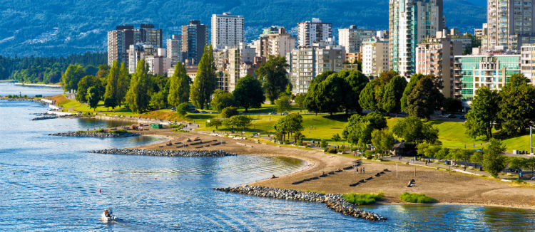 Vancouver beaches panorama aerial view