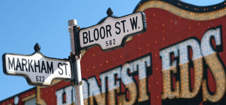 Street sign for Bloor Street - home to one of Toronto's best shopping malls