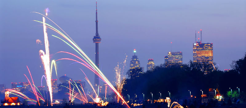Toronto with fireworks at a festival