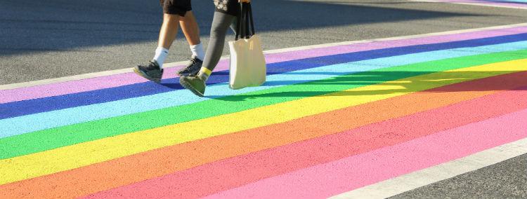 The Rainbow crosswalk in Davie Village, Vancouver