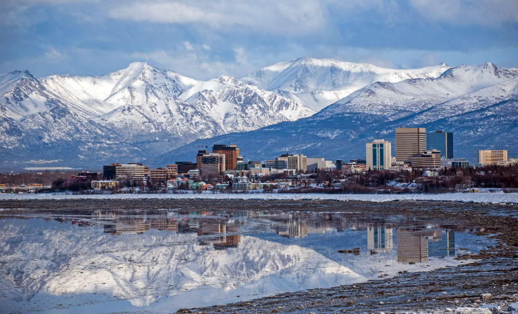 Anchorage skyline with a mountain as its backdrop