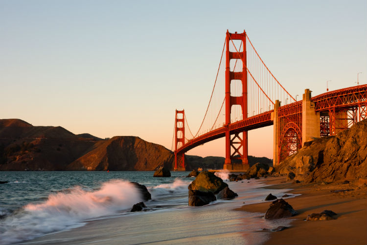 the Golden Gate Bridge in San Francisco at sunset