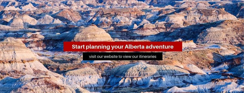 "A banner that says ""Start planning your Alberta adventure"""